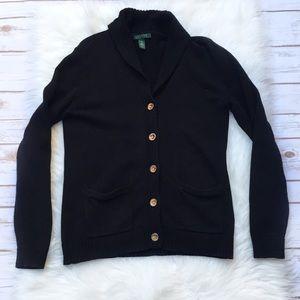 Ralph Lauren Black Knit Gold Button Cardigan Sz M