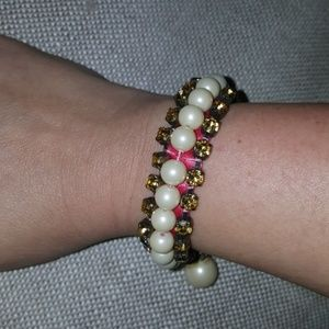 BANANA REPUBLIC satin pearl gemstone bracelet
