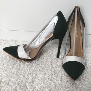 Dark olive green pumps
