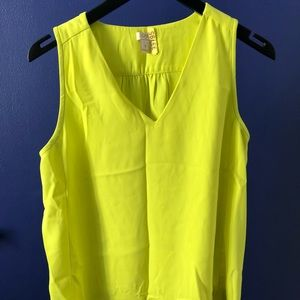 Neon yellow sleeveless shell top, J.Crew Factory