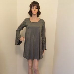 Women's bell sleeve suede dress