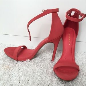 Dark coral strappy high heel sandals
