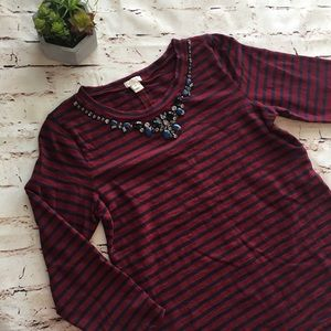 J. Crew | maroon and navy striped embellished top