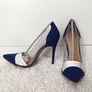 Dark blue high heels with clear pvc sides