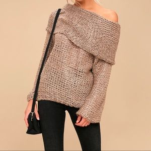 Soft knit cowl neck Off the shoulder sweater