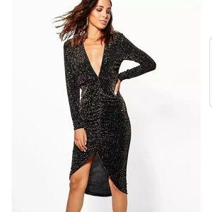 "Ruched Front Black ""metallic"" Dress"