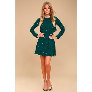 Lulu's Dresses - Forest Green Embroidered Backless Ruffle Dress
