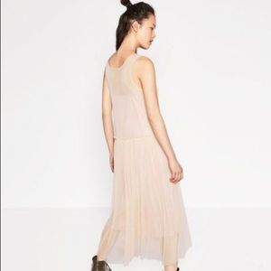 Zara peach sheer overlay dress