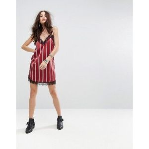 Dresses - Burgundy White Striped Lace Trim Cami Dress