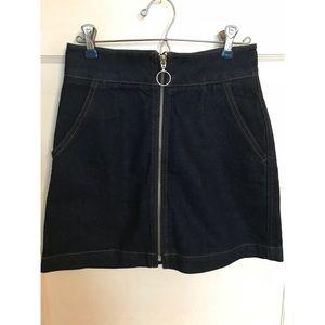 NWOT Top Shop Zipper Moto Jean Skirt Dark Denim