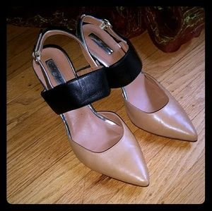 Halogen Leather Pumps Tan Black and Gold  8.5