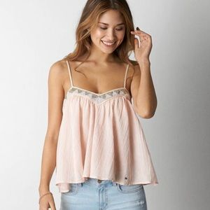 American Eagle Outfitters pink & gold bead blouse