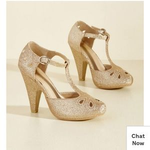 Modcloth Gold glitter heels Zest is History 6