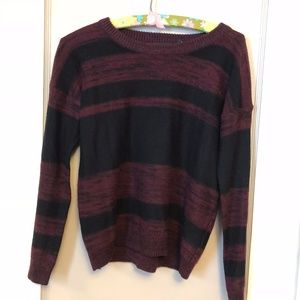 Black and Maroon Striped Sweater