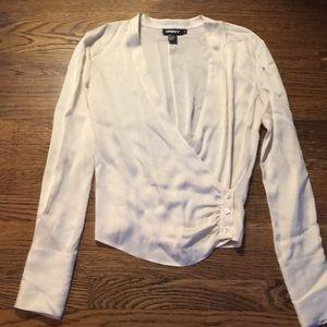 DKNY vintage gorgeous plunge silk blouse sz 4