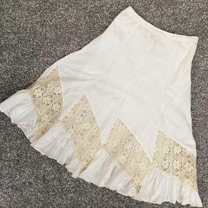 Anthropologie odille bohemian white skirt