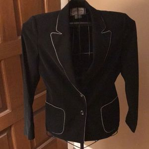 Blazer, black with white piping with pencil skirt