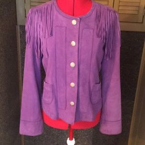 Tory Burch purple jacket with fringe