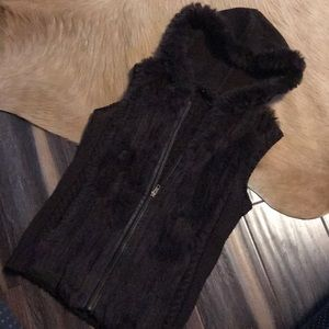 BCBG rabbit fur vest with hood