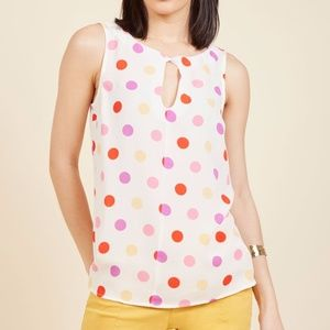 ModCloth Kissed With Twists Dots Top NWOT