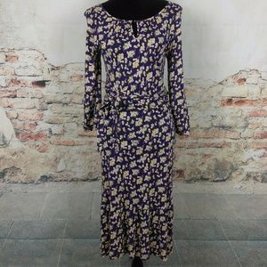 Boden 6 UK 10 Blue Multi-Color Floral Midi Dress