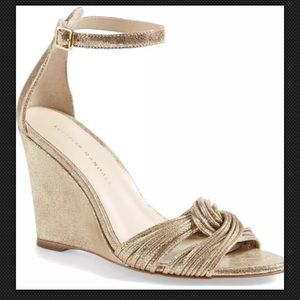 Loeffler Randall Allegra wedge sandal gold metal 7