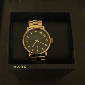 Marc Jacobs 36mm black dial gold tone watch