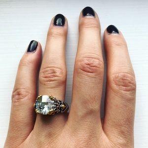 Vintage ornate two-tone chunky diamond ring
