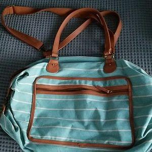 Light blue striped weekender bag