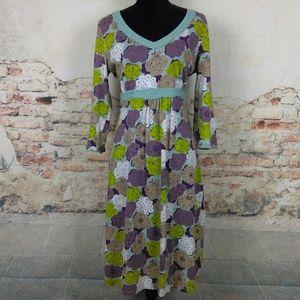 Boden 12L UK 16L Purple Blue Floral Midi Dress