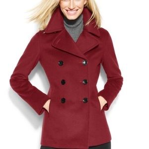 Calvin Klein Red Double Breasted Wool Peacoat