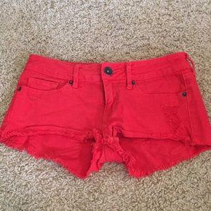Bullhead black red Jean shorts.