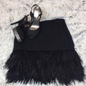 Black Ann Taylor Feather Skirt