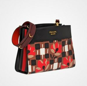 Prada bibliothèque tobacco black leather bag