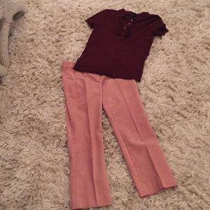 NWOT JCrew Pale Pink Corduroy ankle pants. Size 0