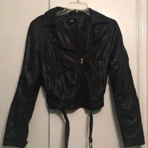 H&M pleather black jacket size 6