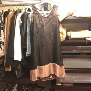 Easley dress with sequin details under sheer top