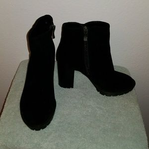 Black Suede Thick Heel Ankle Bootie