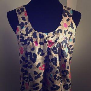 Kate Spade Colorful Leopard Bow Sleeveless Shirt