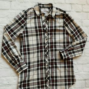 Foxcroft Plaid Check Shaped Button Up