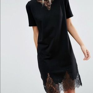 T-Shirt Dress with Lace Inserts