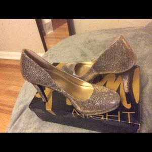 Gold multi sparkle heels