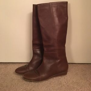 Loeffler Randall chocolate leather knee-high boots