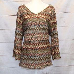 Tesori Woman Multi Colored Chevron Shirt - 3X