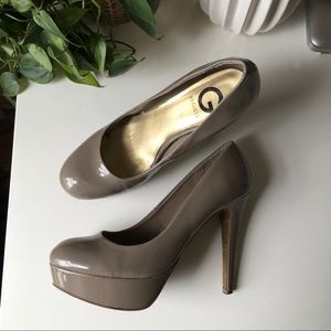 Grey Patent Leather Platform Heels