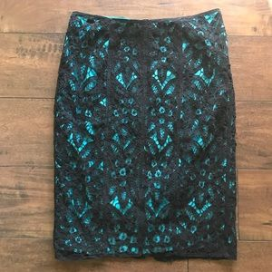 Betsey Johnson NY Cotton Lace Lined Pencil Skirt