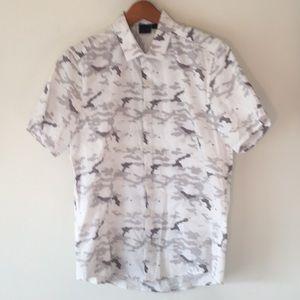 ASOS White Grey Camo short sleeve Button Up Sz Med