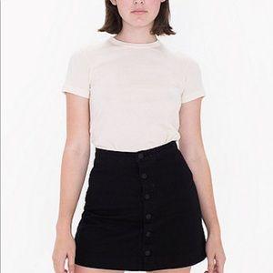 American Apparel A-line Black Denim 6 Button Skirt