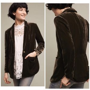 Anthropologie Eve Velvet Blazer Moss Green NWT 14