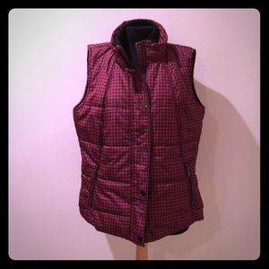 NWOT Coldwater Creek Black/Red Plaid Puffer Vest